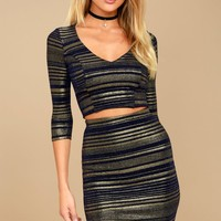 Shimmer Down Navy Blue and Gold Striped Two-Piece Dress