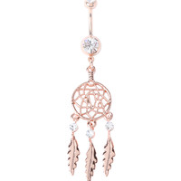 14G Steel Rose Gold Dreamcatcher Navel Barbell