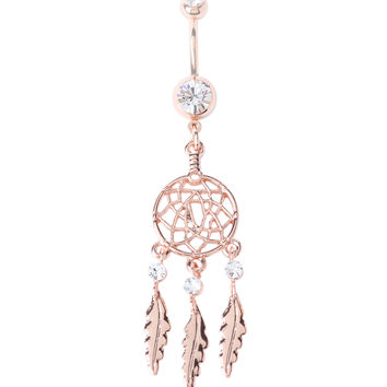 WildKlass Jewelry Retro Dreamcatcher Acrylic Logo Steel Belly Button Ring