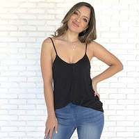 Rest & Relaxation Jersey Button Up Tank in Black