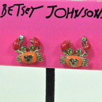 Betsey Johnson Under the Sea Coral Crab Earrings
