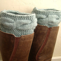Mint Boot cuffs - Mintgreen Leg Warmers - Cable knit boot toppers  - Winter Fashion 2013 - Machine Washable - WINTER SALE