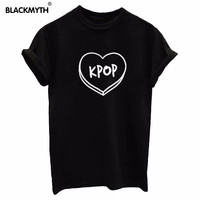 New Summer T Shirts Women Letters Fashion KPOP Printing  Short sleeve Casual Clothing Black White Top Tees