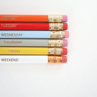 days of the week pencil set of 6. multicolor rainbow.