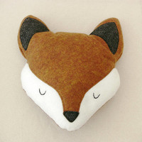 Plush Fox Head stuffed animal plush dolls - Fauna Friends Collection by Fawn and Sea - handmade with eco friendly felt & fill