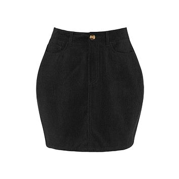 Classic Stretchy High Waisted Corduroy Mini Skirt