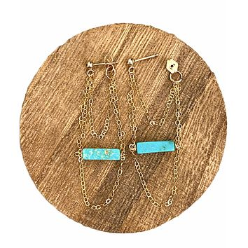 Turquoise bar and chain stud earrings