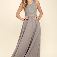 Twinkle In My Eye Grey Beaded Maxi Dress