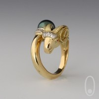 Aries Ring with Tahitian Fancy Color Pearl  by TeresiDesign