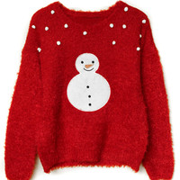 Red Snowman Patch Fluffy Knit Sweater
