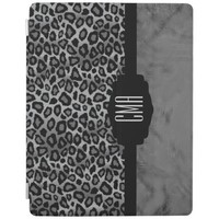 Gray and Black Leopard Animal Print iPad Cover