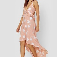 Joli Ruffle High Low Maxi Dress - Bright Peach Floral Print