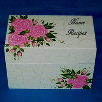 Hand Painted Recipe Box Wood Personalized Wedding Heirloom 4x6 Advice Decorative Guest Book Box