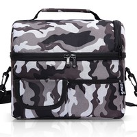 PuTwo Lunch Bag 8L Insulated Lunch Bag Lunch Box Lunch Bags for Women Lunch Bag for Men Cooler Bag with YKK Zip and Adjustable Shoulder Strap Lunch Tote for Kids Lunch Box Lunch Pail - Camfoulage Grey