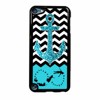Peter Pan Mint Glitter Anchor Black Chevron iPod Touch 5th Generation Case