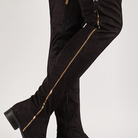 Suede Zip Up Thigh High Boot
