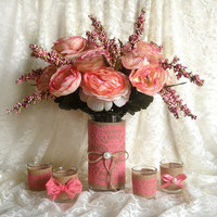 coral pink lace and natural burlap covered vase and votive tea candles, wedding, bridal shower, baby shower, home table decor
