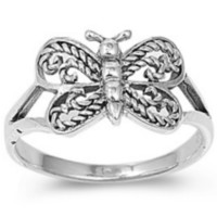 .925 Sterling Silver Butterfly Ring Ladies Kids and Baby Size 1-9 Midi Thumb Knuckle