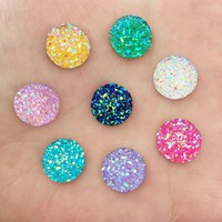40PCS 12mm Random mixed of mineral surface flatback ROUND resin DIY craft buttons