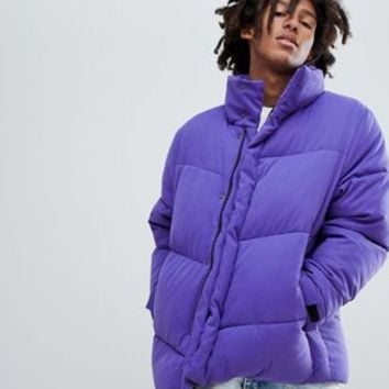 ASOS DESIGN oversized puffer jacket in purple at asos.com
