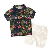 Summer Floral Boy's clothing sets Children suit Kids set cotton baby boy clothing Boy's flower print shirts+shorts