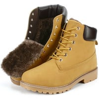 STOCK IN US! Men Winter Boots Warm Snow Shoes US#9.5 Yellow