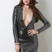 Diamond In The Rough Deep V Bodycon Dress