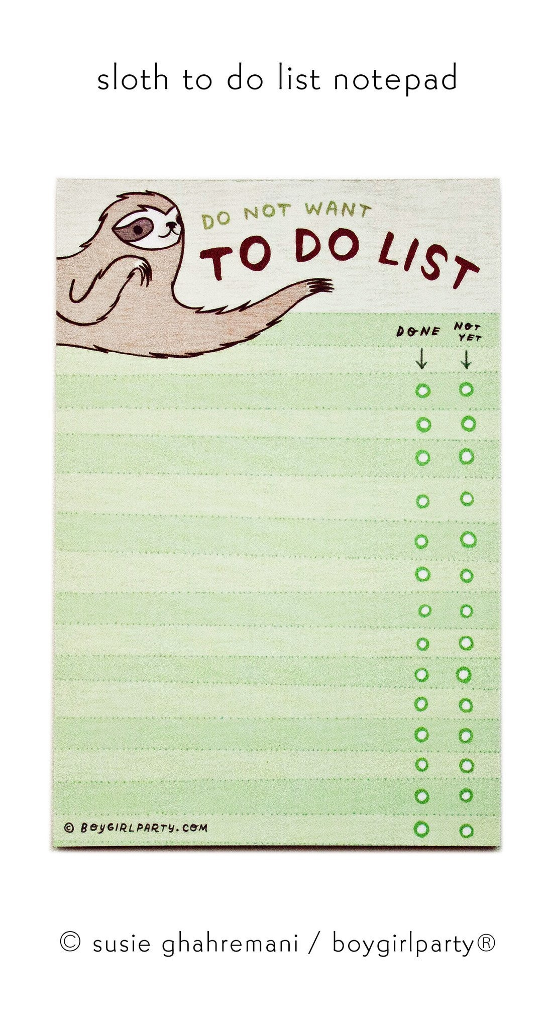 Image of Sloth To Do List Notepad - Do Not Want To Do List - Funny Sloth Gifts by boygirlparty