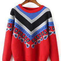 Red Contrast Pattern Long Sleeve Knit Sweater