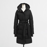 Long belted puffer jacket