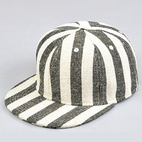 Gray & White Striped Snapback Hat