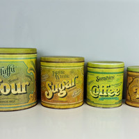 Retro Kitchen Canister Set Green Orange Flour Sugar Coffee Tea Storage Set Ballonoff Kitchen Canister Set Advertising Litho Tins Containers