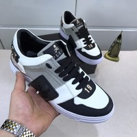 Philipp Plein Black White Gray Men Fashion Casual Sneakers Sport Shoes