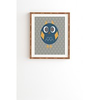 Vy La Geo Owl Solo Blue Framed Wall Art