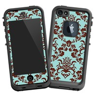 "Classic Brown and Blue Damask ""Protective Decal Skin"" for LifeProof fre iPhone 5/5s Case"
