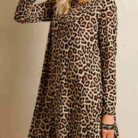 Leopard Print Long Sleeve A-line Dress
