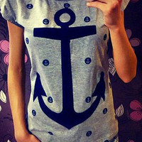 Anchor Print Short Sleeve Graphic T-shirt