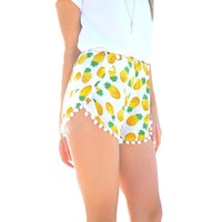 Women Summer Pineapple Prints Elastic Waist Casual Shorts Beach Shorts