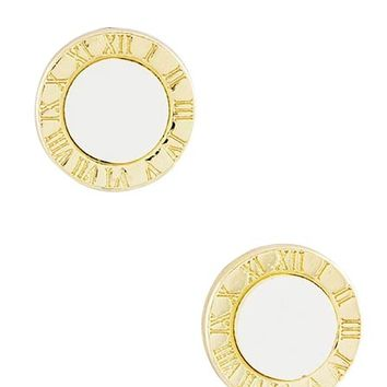 Roman Numeral Gold & White Earrings