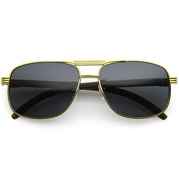 Metal Detailed Wood Arm Lifestyle Square Aviator Sunglasses D189