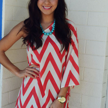 Head Over Heels For Chevron Dress: Coral Pink   Hope's