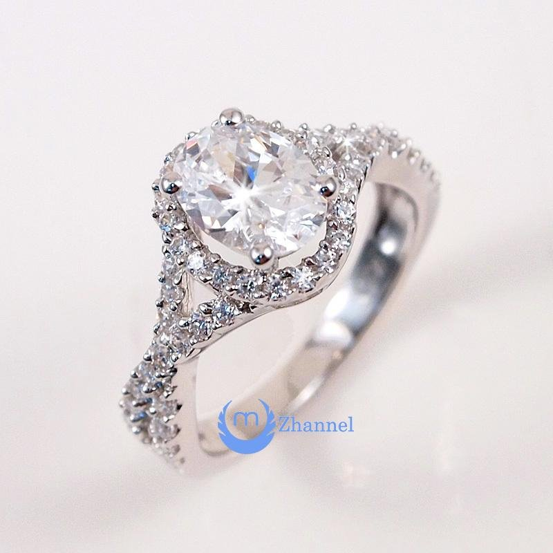 Image of 1.5ct Engagement Solitaire RING w/accents Signity CZ Rhodium over Silver