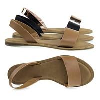 Bliss60 By Bamboo, Foam Padded Flat Open Toe Slip On Sandal w Elastic Sling Back Straps