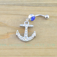 anchor Belly Button Rings,anchor Navel Jewlery, bling anchor belly button ring,navy ring, friendship belly ring