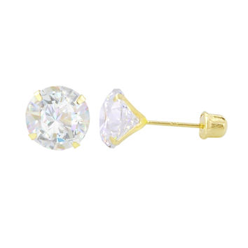 Round Clear CZ Stud Earrings 14k Yellow Gold Screwback Prong Set