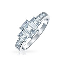 2CT Emerald Cut 3 Stone CZ Engagement Ring 925 Sterling Silver