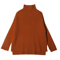 Loose Dip Hem Turtleneck Top (Orange) | STYLENANDA