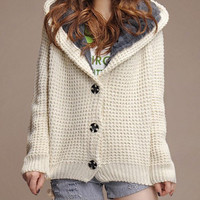 White Long Sleeve Hooded  Cardigan