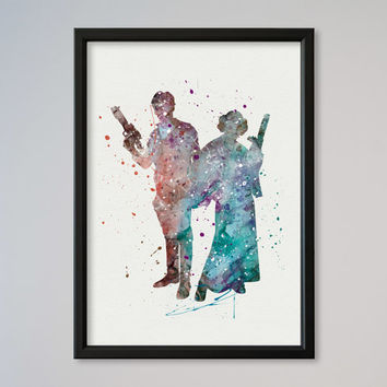 Star Wars Han Solo and Leia Poster Watercolor Print Star Wars 4 New Hope Watercolor  Princess Leia Love Gift Room Decor Wall Hanging