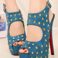 Ladies Fashion High Heel Stud Cut Out Party Shoes In BLUE from NaomiShu